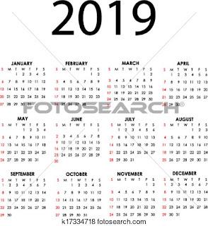 Happy New Year 2019 Calendar