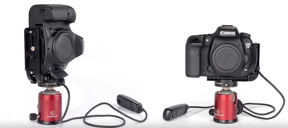 Sunwayfoto PCL-7DIIR L Bracket on Canon EOS 7D MkII w/ remote - landscape / portrait modes