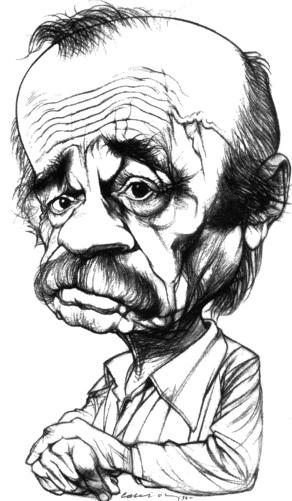 Dibujo de Ernesto Sabato en caricatura
