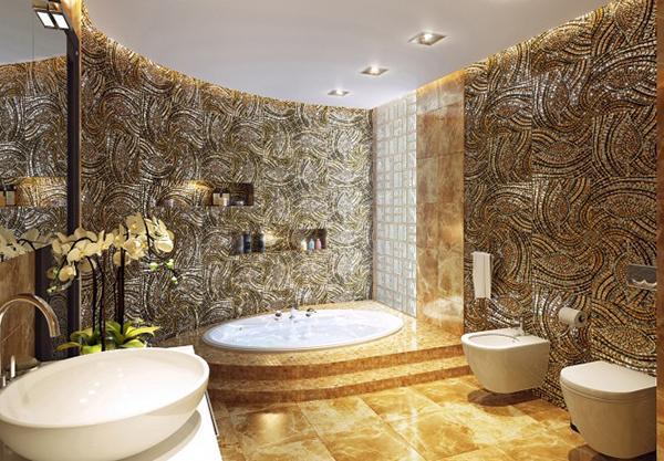 Kamar mandi nyaman penuh wallpaper