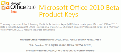 microsoft office professional plus 2010 activation key