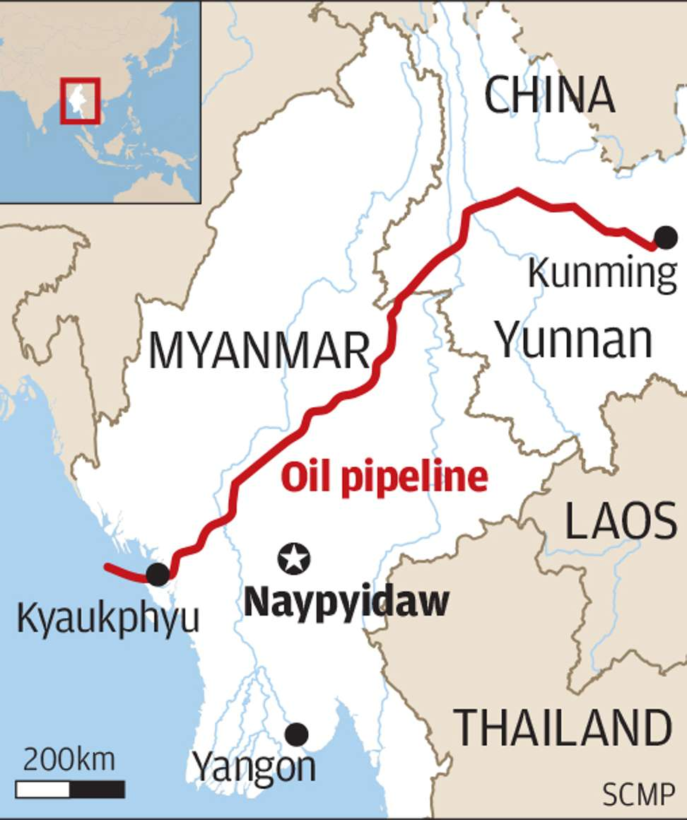 the myanmar china pipeline runs from maday island near the town of kyaukpyu in rakhine state and connects with china s domestic pipeline to kunming city