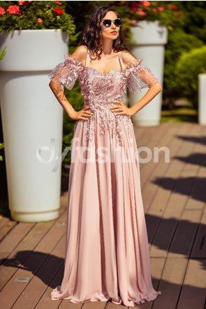 Rochie lunga de nunta roz pudrat lunga de lux cu broderie florala si insertii handmade