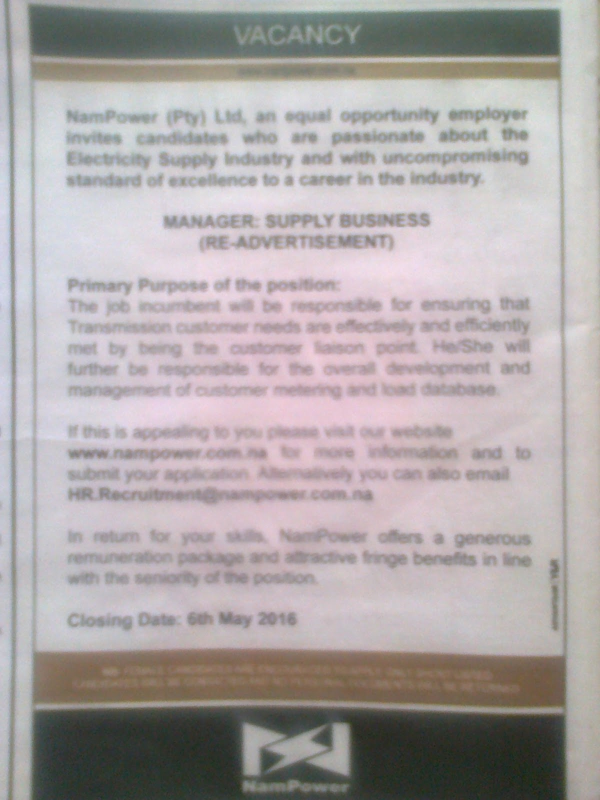 Jobs In Namibia Vacancies Manager Supply Business