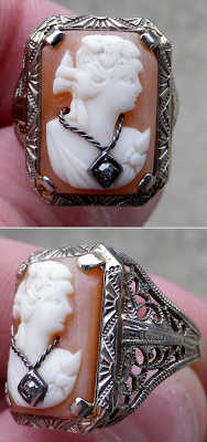 1920's white gold filigree cameo ring.
