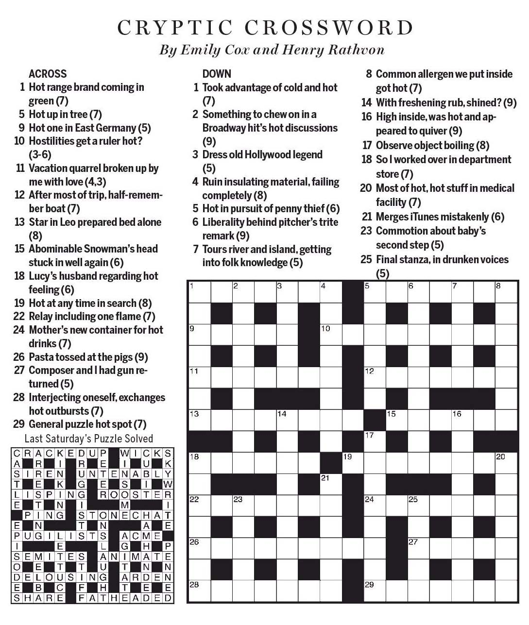 National Post Cryptic Crossword Forum Saturday May 27