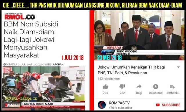 THR PNS Naik Diumumkan Langsung Jokowi, Giliran BBM Naik?