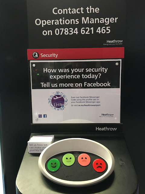 Heathrow airport security Facebook Messenger feedback options