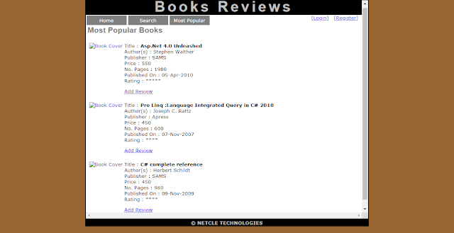 ONLINE BOOK REVIEW PROJECT IN ASP .NET C# AND MYSQL