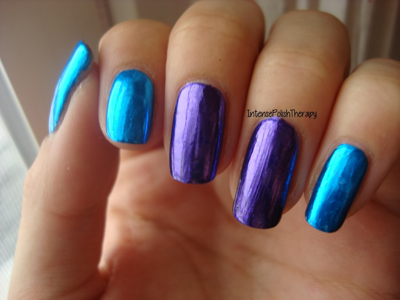 Blue & Purple Foil Manicure