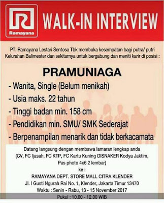 Walkin Interview Ramayana 2017