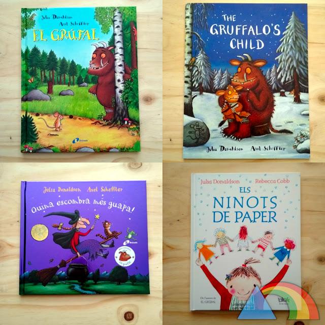 Libros Julia Donaldson: El Grúfalo, La hija del Grúfalo, Cómo mola tu escoba y Los muñecos de papel
