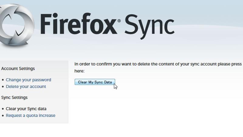 【Firefox】Syncのデータをクリアする 3
