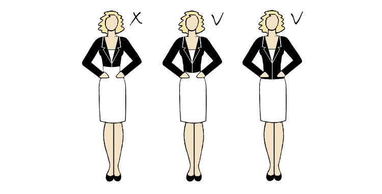 odpowiednia długość żakietu dla figury o szerokich ramionach