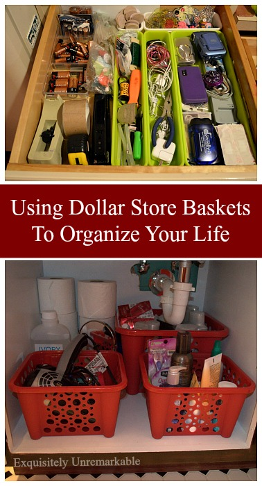 Using Dollar Store Baskets To Organize Your Life
