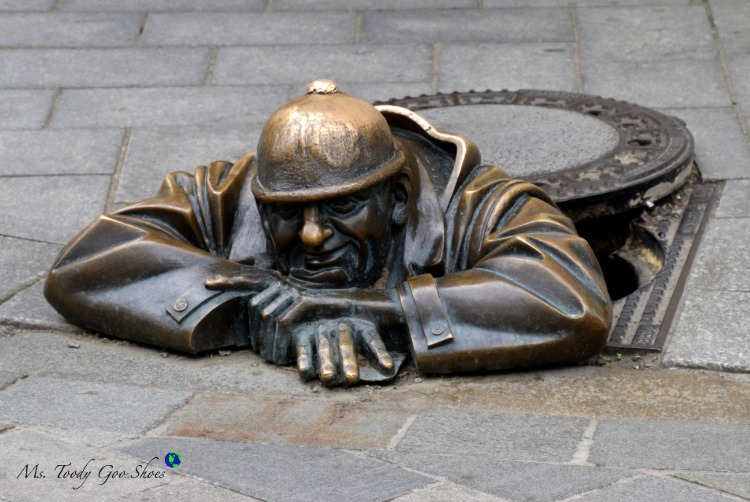 """Cumil, Man At Work"" is one of several quirky statues in Bratislava 