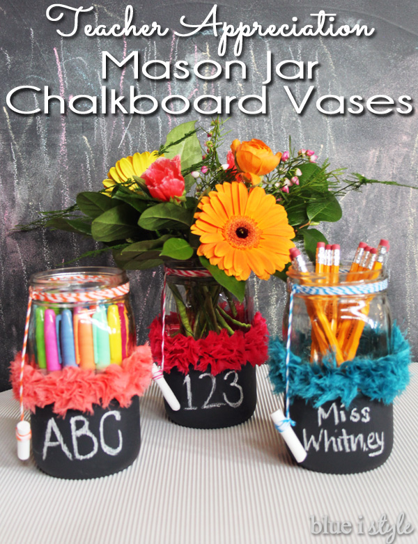 Chalkboard Mason Jar Teacher Appreciation Week gift