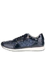 Pantofi sport albastru închis & negru Tamaris cu ștrasuri și detalii lăcuite