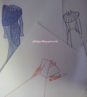 hobi, sketching, gown