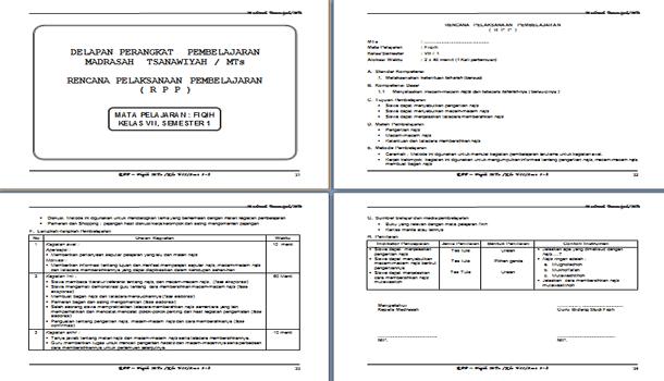 Perangkat Pembelajaran Fiqih MTs Berkarakter Kelas 7 8 9