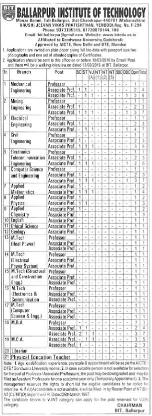 Ballarpur Institute of Technology Recruitment 2016 bitedu.co.in