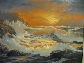 oil painting of waves and rocks by artist Aletha Deuel
