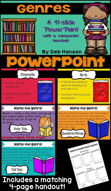 Genre PowerPoint- introduce your students to 14 genres. Lots of opportunities to practice identifying genres!