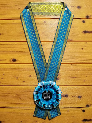 This blue/black rosette leis was commissioned to be given to guest of honors and guest speakers of a Philippine-based event.