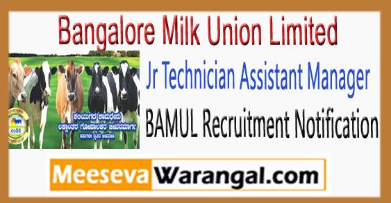 BAMUL Jr Technician Assistant Manager Recruitment Notification 2018
