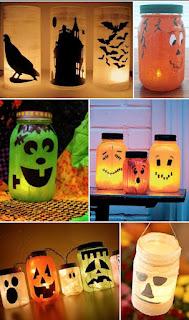 decorazione halloween vasetti con faccine immagine