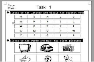 English test first grade Primary