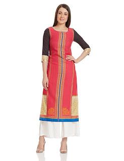 Rs. 1359 Red W Woman Kurta by FashionDiya