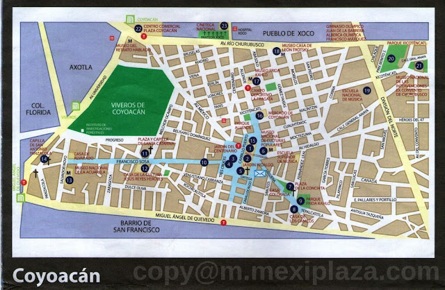 Coyoacan Sitios de Interes - base de Hernán Cortes - Hogar de León Trotsky y Frida Kahlo - barrios tradicionales