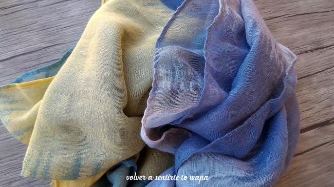 Pañuelo jaspeado en amarillo, gris y verde