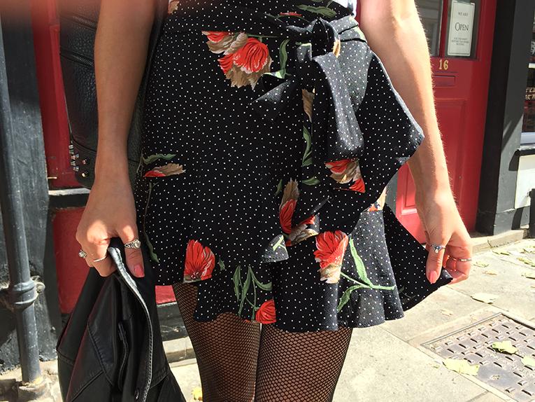 UK fashion blogger floral wrap skirt