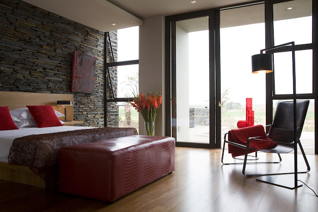 Modern bedroom with red furniture