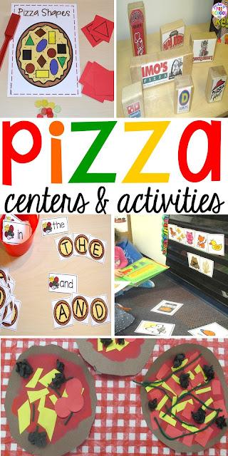 Pizza themed math, literacy, fine motor, art, and sensory centers for preschool, pre-k, and kindergarten