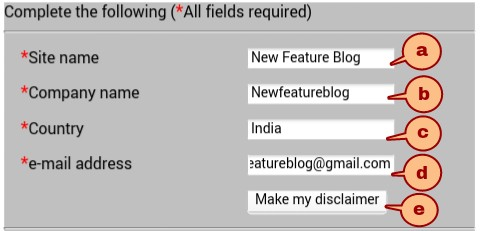 newfeatureblog.com disclaimer form fillup klare