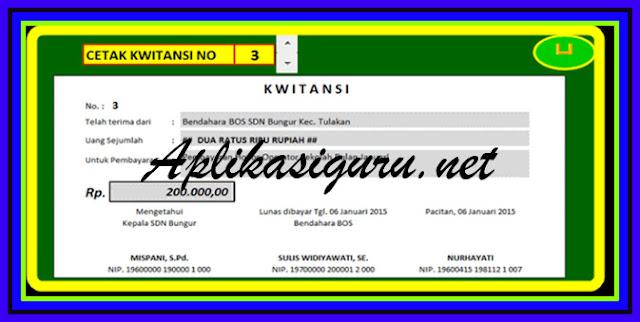 Aplikasi Cetak Kwitansi BOS Format Excel Versi Terbaru