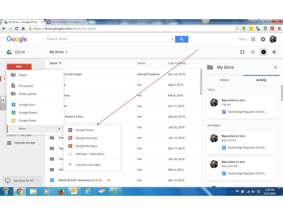 From google drive select quot new quot and then quot google forms quot