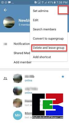 cara keluar  dari grup telegram dan menghapus grup telegram