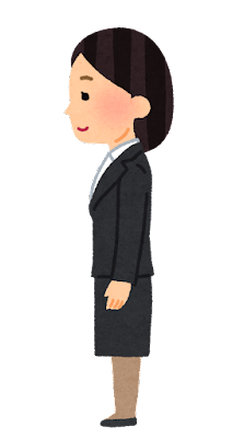 横から見た女性会社員のイラスト