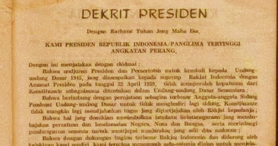 Pembubaran Konstituante Berlakunya kembali UUD 1945 dan tidak berlakunya lagi UUDS 1950  Pembentukan MPRS (Majelis Permusyawaratan Rakyat Sementara) dan DPAS (Dewan Pertimbangan Agung Sementara)