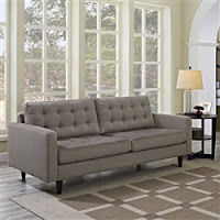 Gray Fabric Sofa with Tufted Back