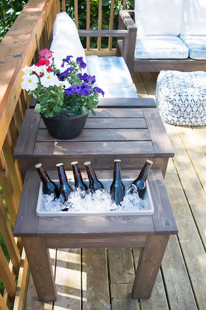 Patio Table with Built- In Beverage Ice Bucket