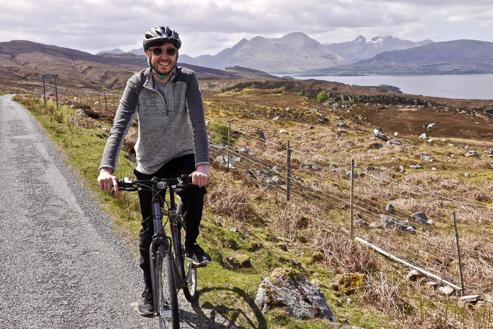 Cycling on the island of Rassay , Almost Chic and Cal McTravels during their Scottish Island Hopping in the outer Hebrides
