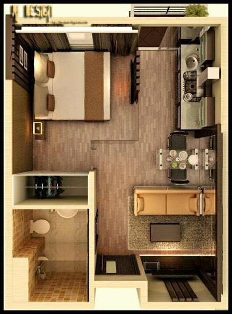 one bedroom 3d floor plans with patio decor