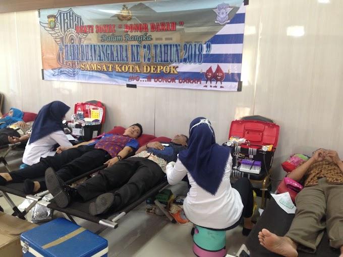 Meriahkan HUT Bhayangkara, Samsat Depok Gelar Donor Darah