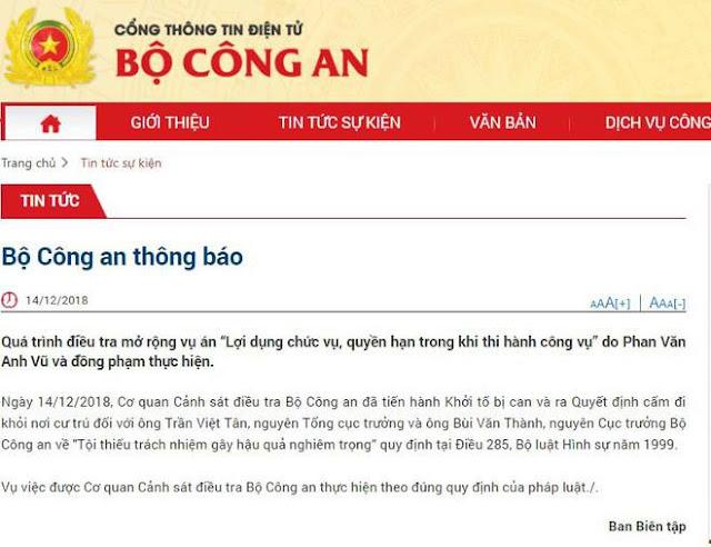 Bộ Công an khởi tố 2 Thứ trưởng Bộ Công an Trần Việt Tân và Bùi Văn Thành ảnh 2
