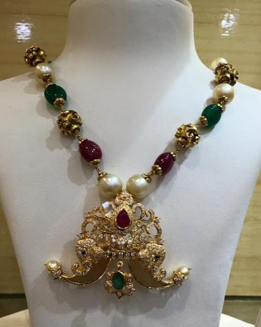 Pearls Necklaces with Nakshi Pendants